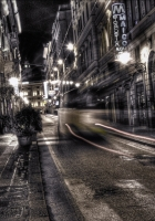 city, black white, road