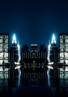 city, night, water