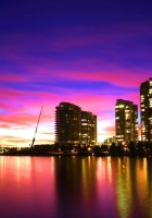 city, vancouver, sunset