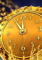 clock, midnight, champagne