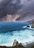 clouds, rocks, coast