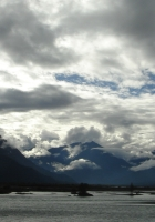 clouds, sky, mountains