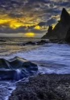 coast, stones, water