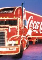 coca-cola, truck, santa