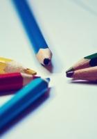 colored pencils, paper, paint