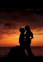 couple, sunset, silhouette