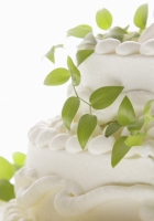 cream cake, lily leaves, close-up