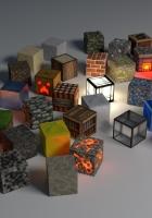 cubes, shape, glow