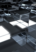 cubes, surface metal, reflection