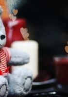 cute, teddy bear, candles