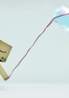 danboard, cardboard robot, cloud