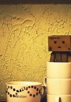 danboard, cardboard robot, cup