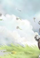 elephant, grass, flying