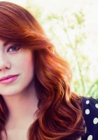 emma stone, face, red hair