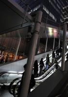 escalator, night, lights