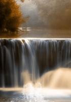 falls, crane, water