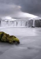 falls, stone, moss