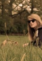 field, girl, grass
