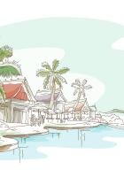 figure, island, house