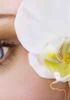 flower, blue eyes, girl