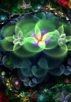 flowers, fractal, light