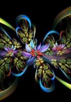 fractal, lines, flowers