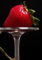 frog, strawberry, wine glass