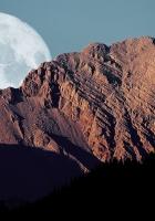 full moon, mountains, shadows