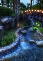 garden, night, bridge