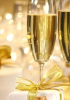 gifts, champagne, wine glasses