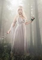 girl, blonde, flower