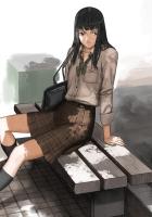 girl, brunette, bench