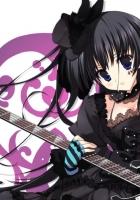 girl, brunette, guitar