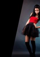 girl, brunette, skirt