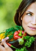 girl, brunette, vegetables