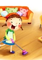 girl, child, vacuum cleaner