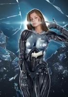 girl, cyborg, glass