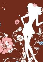girl, flowers, silhouette
