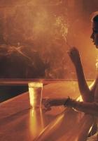 girl, glass, table