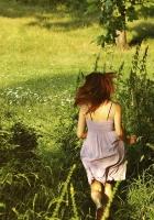 girl, green, summer