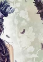 girl, hat, bird