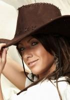 girl, hat, cowboy