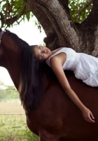 girl, horse, dress