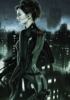 girl, night, suit