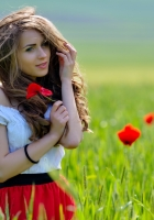 girl, poppies, field