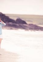 girl, sea, walk