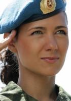girl, takes, military