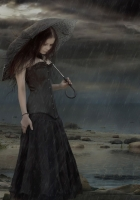 girl, umbrella, rain