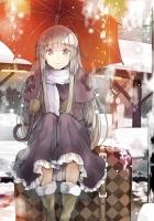 girl, umbrella, snow