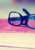 glasses, book, table